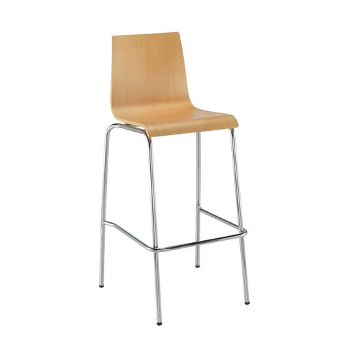 Image for Fundamental dining stool in beech with chrome frame