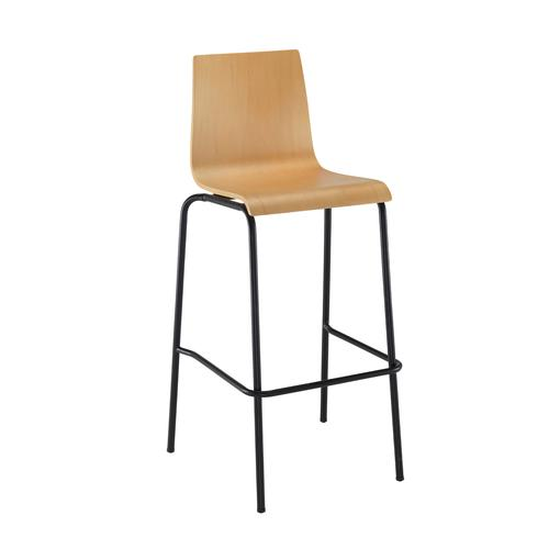 Image for Fundamental dining stool in beech with black frame