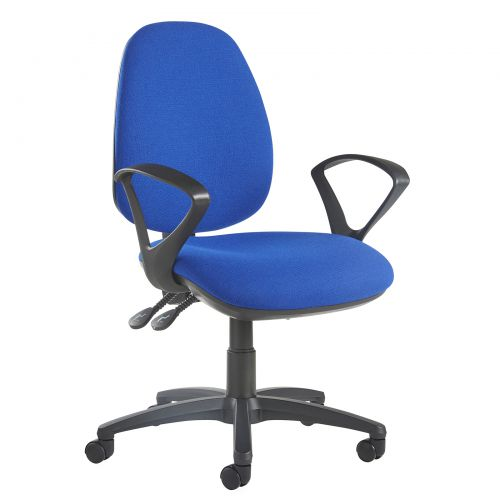 Image for Jota high back operator chair with fixed arms - blue