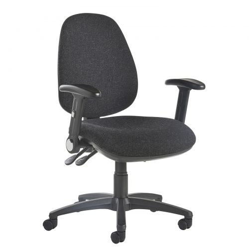 Image for Jota high back operator chair with folding arms - charcoal