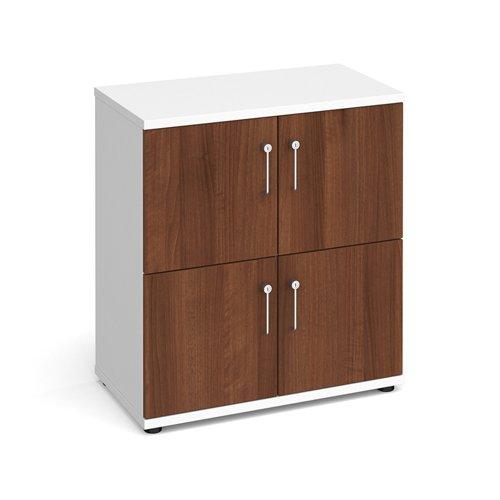 Image for Wooden storage lockers 4 door - white with walnut doors