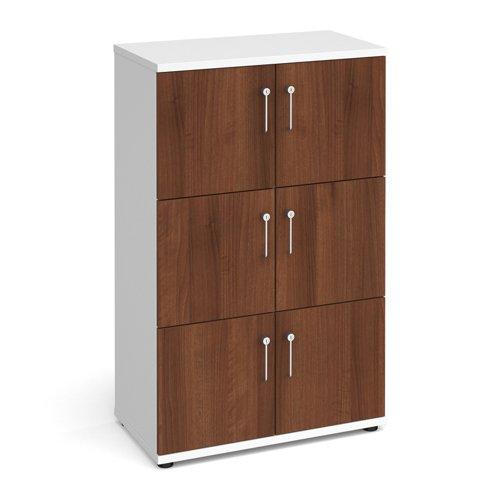 Image for Wooden storage lockers 6 door - white with walnut doors