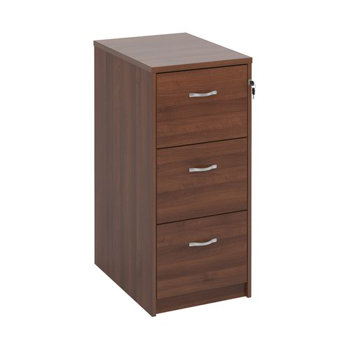 Wooden 3 drawer filing cabinet with silver handles 1045mm high - walnut