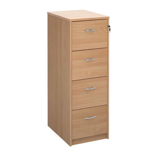 Wooden 4 drawer filing cabinet with silver handles 1360mm high - beech