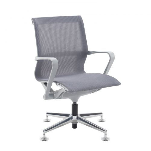 Image for Lola medium back designer visitors chair with grey mesh and grey frame and aluminium 4 star glides