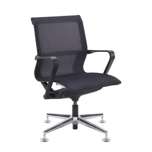Lola medium back designer visitors chair with black mesh and black frame and aluminium 4 star glides