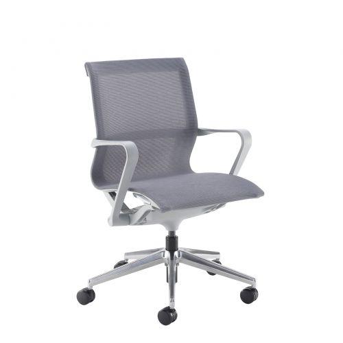 Image for Lola medium back designer operators chair with grey mesh and grey frame and aluminium base