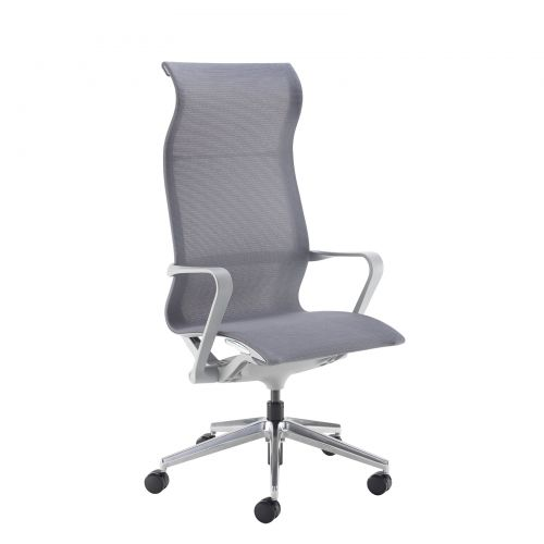 Image for Lola high back designer operators chair with grey mesh and grey frame and aluminium base