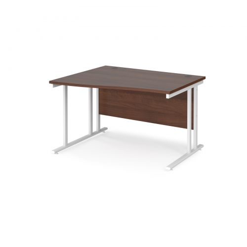 Maestro 25 left hand wave desk 1200mm wide - white cantilever leg frame and walnut top