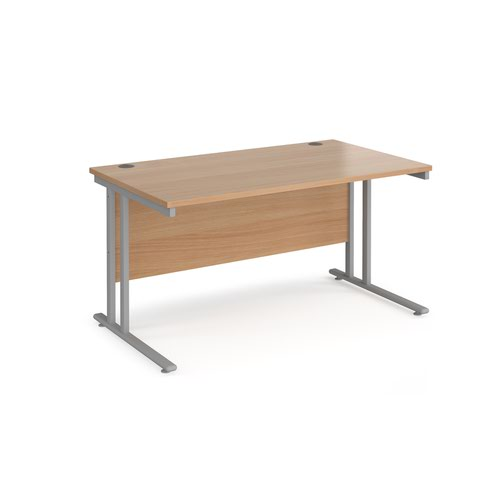 Maestro 25 straight desk 1400mm x 800mm - silver cantilever leg frame and beech top