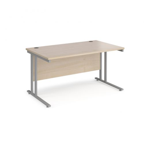 Maestro 25 SL straight desk 1400mm x 800mm - silver cantilever frame and maple top