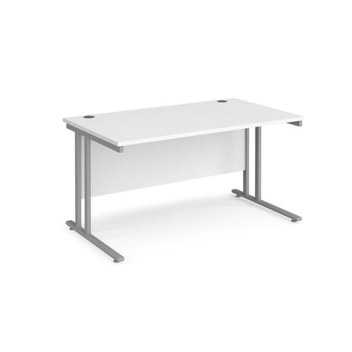 Maestro 25 SL straight desk 1400mm x 800mm - silver cantilever frame, white top