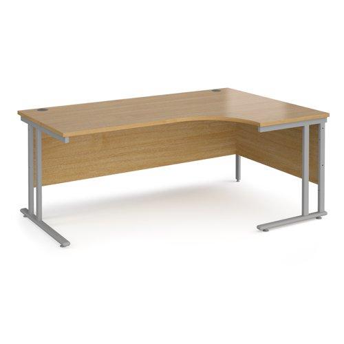 Maestro 25 right hand ergonomic desk 1800mm wide - silver cantilever leg frame and oak top