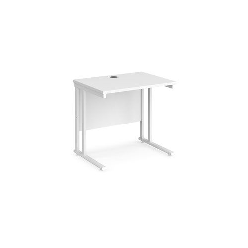 Maestro 25 straight desk 800mm x 600mm - white cantilever leg frame and white top