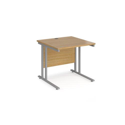 Maestro 25 SL straight desk 800mm x 800mm - silver cantilever frame, oak top