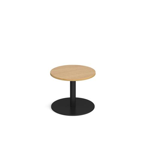 Image for Monza circular coffee table with flat round black base 600mm - oak