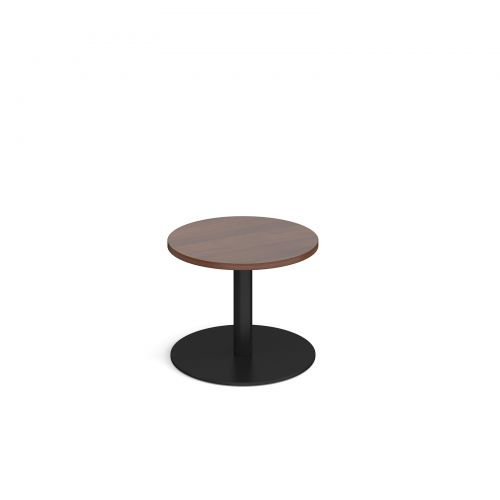 Image for Monza circular coffee table with flat round black base 600mm - walnut