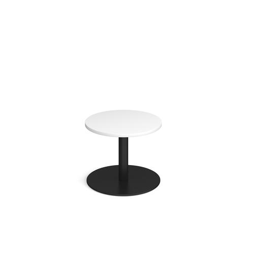 Image for Monza circular coffee table with flat round black base 600mm - white