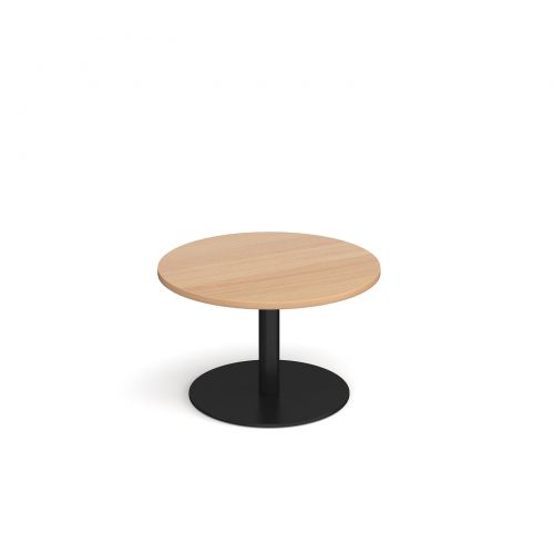 Image for Monza circular coffee table with flat round black base 800mm - beech