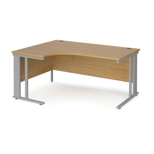 Maestro 25 left hand ergonomic desk 1600mm wide - silver cable managed leg frame and oak top