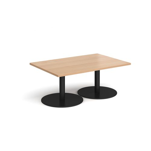 Monza rectangular coffee table with flat round black bases 1200mm x 800mm - beech