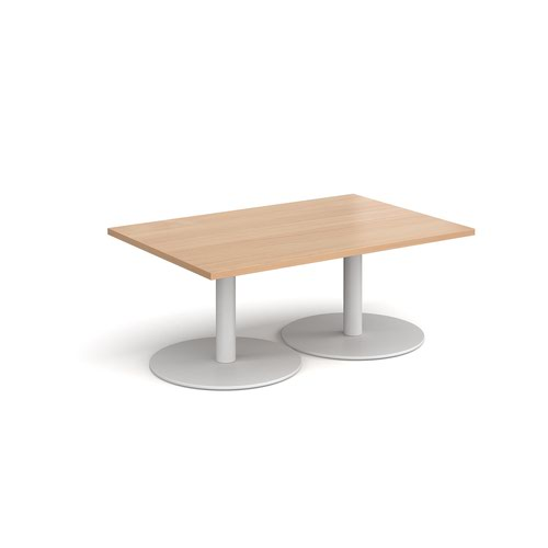 Monza rectangular coffee table with flat round white bases 1200mm x 800mm - beech