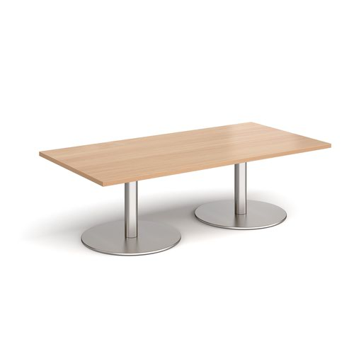 Monza rectangular coffee table with flat round brushed steel bases 1600mm x 800mm - beech