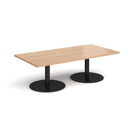 Monza rectangular coffee table with flat round black bases 1600mm x 800mm - beech