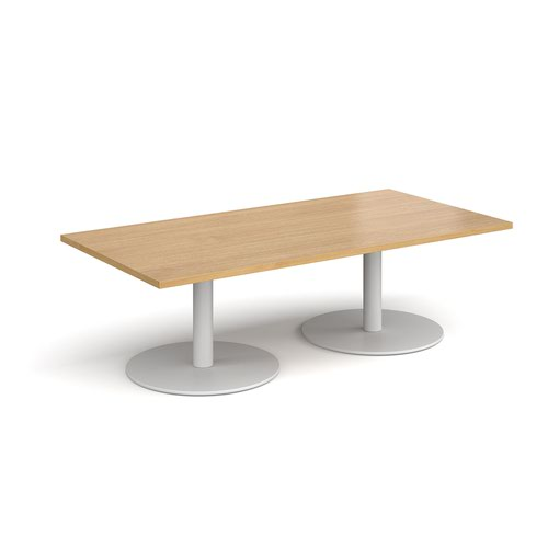 Monza rectangular coffee table with flat round white bases 1600mm x 800mm - oak