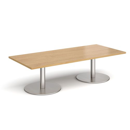 Monza rectangular coffee table with flat round brushed steel bases 1800mm x 800mm - oak