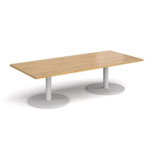 Monza rectangular coffee table with flat round white bases 1800mm x 800mm - oak