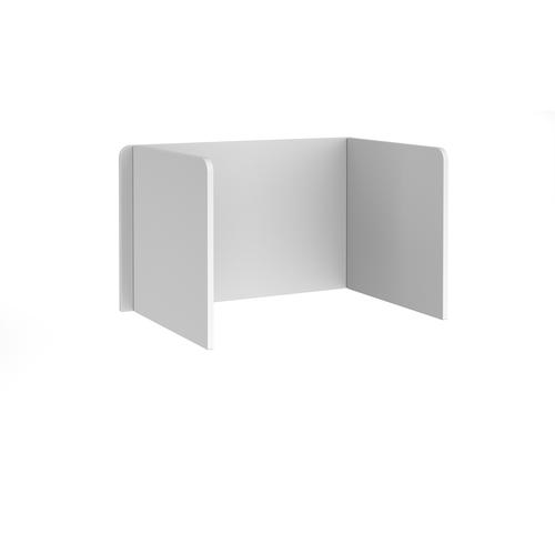 Free-standing 3-sided 700mm high mfc white desktop screen - 1200mm wide