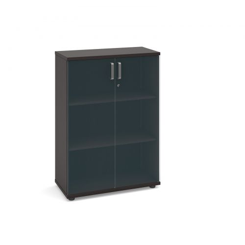 Image for Magnum low cupboard with glass doors 1130mm high - dark oak