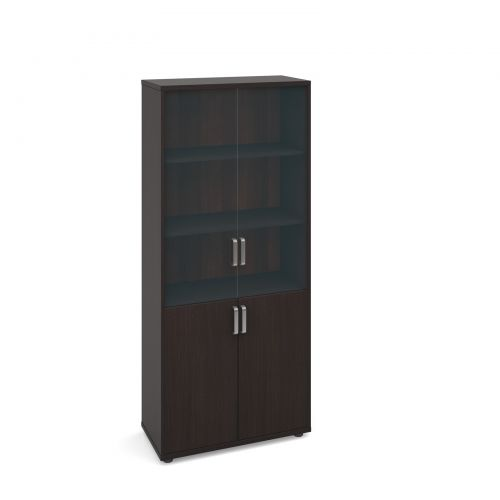 Image for Magnum combination unit with glass upper doors 1840mm high - dark oak