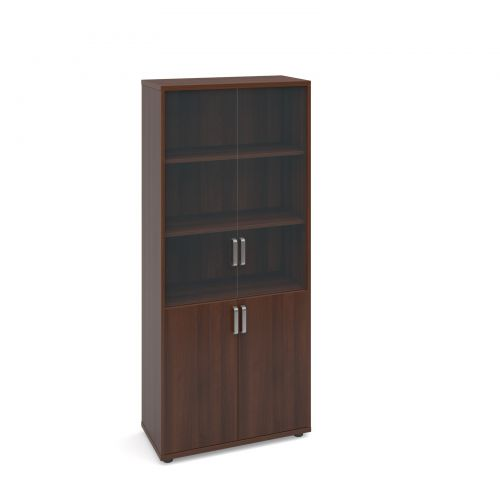 Image for Magnum combination unit with glass upper doors 1840mm high - american walnut