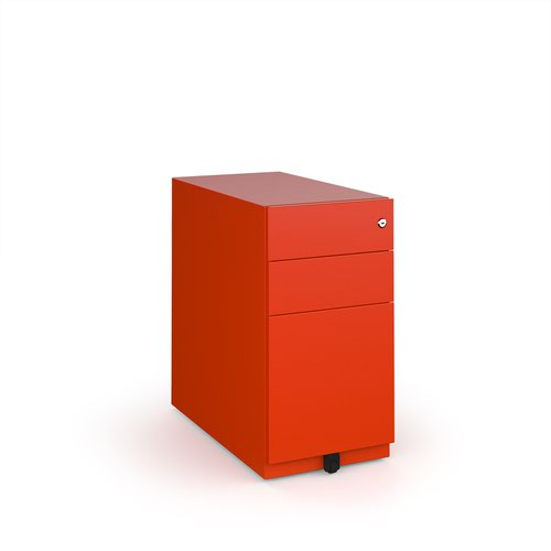 Bisley slimline steel pedestal 300mm wide - red