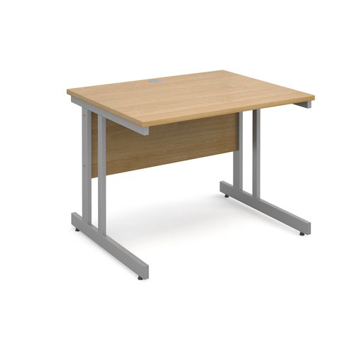 Image for Momento straight desk 1000mm x 800mm - silver cantilever frame and oak top