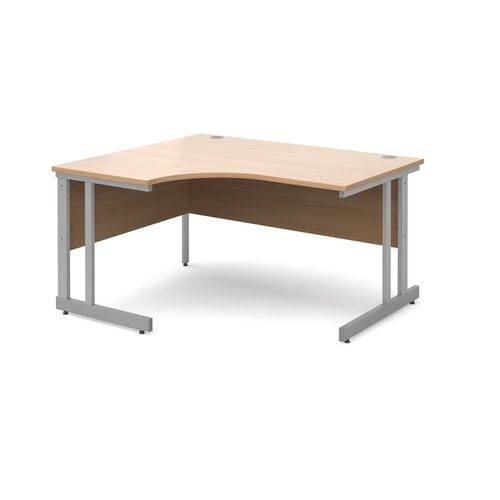 Image for Momento left hand ergonomic desk 1400mm - silver cantilever frame and beech top
