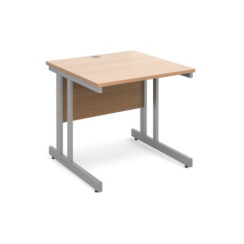 Image for Momento straight desk 800mm x 800mm - silver cantilever frame and beech top