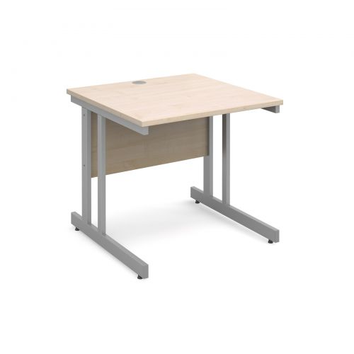 Momento straight desk 800mm x 800mm - silver cantilever frame and maple top