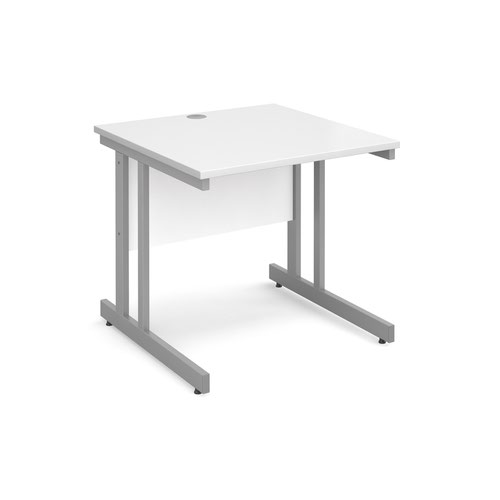 Momento straight desk 800mm x 800mm - silver cantilever frame and white top