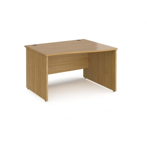 Maestro 25 right hand wave desk 1200mm wide - oak top with panel end leg