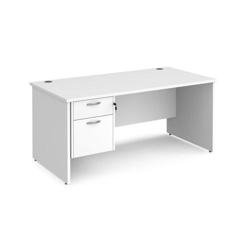 Maestro 25PL Panel Leg Rectangle Desk 2 Drawer Pedestal 1600x800mm White M2W16P2WH