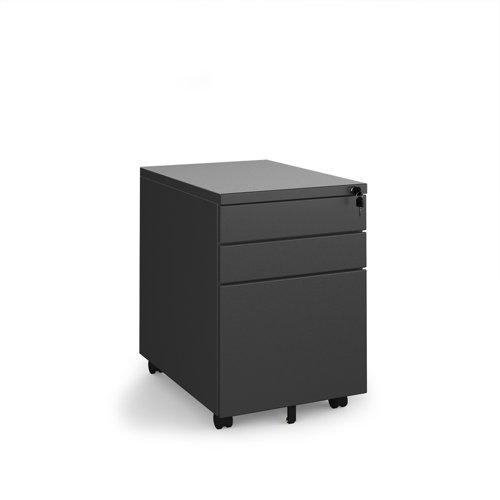 Steel 3 drawer wide mobile pedestal - black