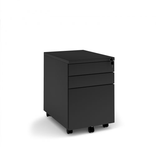 Steel 3 drawer mobile pedestal - black