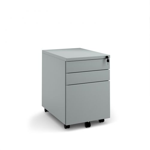 Steel 3 drawer wide mobile pedestal - silver