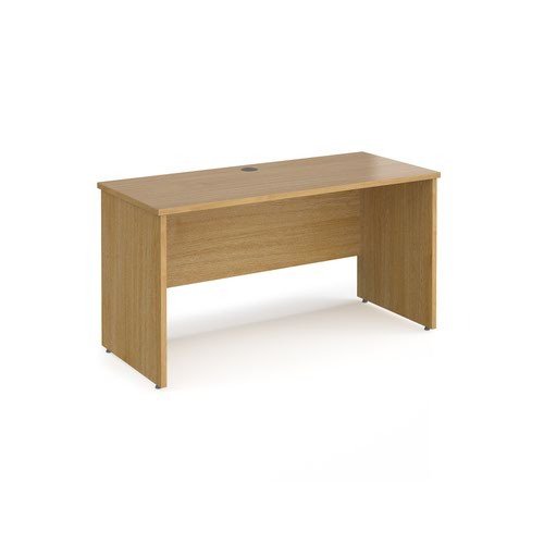 Maestro 25 straight desk 1400mm x 600mm - oak top with panel end leg