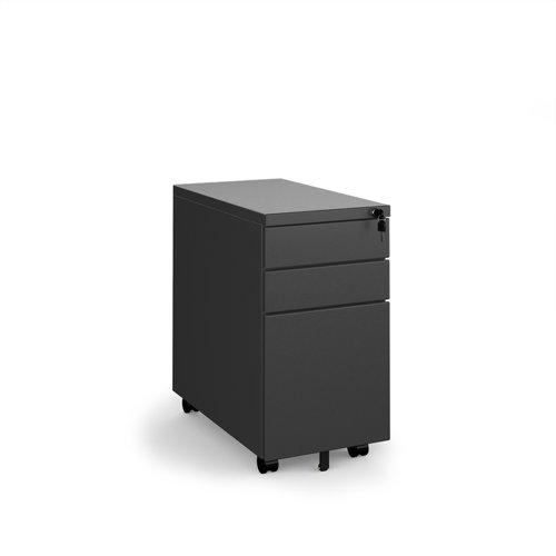Steel 3 drawer narrow mobile pedestal - black