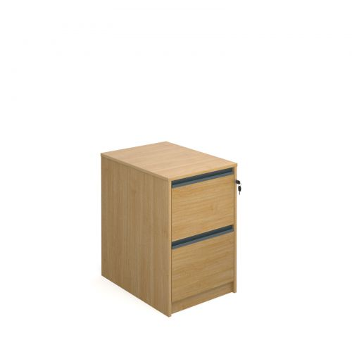 Image for Filing cabinet with 2 drawers and graphite finger pull handles 723mm high - oak