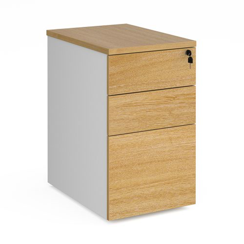 Deluxe desk high 3 drawer pedestal 600mm deep - white with oak drawers